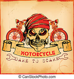 Skull on vintage motorcycle background - illustration of...