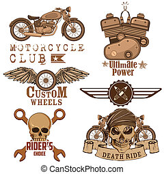Motorcycle Design Element - illustration of vintage...