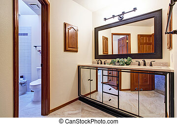 Luxury bathroom vanity cabinet in mirror trim - Luxury...