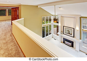 Luxury living room in empty house. Panoramic view - Empty...