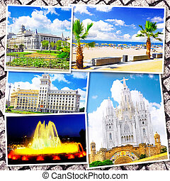 Collage of beautiful Barcelona. Catalonia. Spain. - Collage...