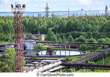 Treatment plant in green woods