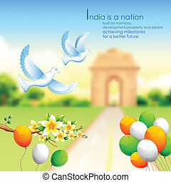 India background with tricolor balloon and India Gate -...