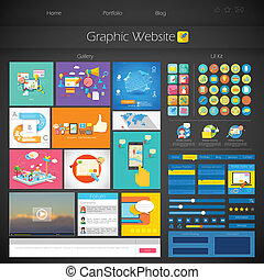 User Interface Design - illustration of flat style User...