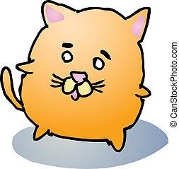Fat cat cartoon - Fat rounded cute cat cartoon comic...