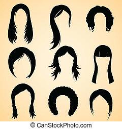cabelo, estilo, femininas
