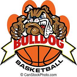 bulldog basketball banner design with bulldog mascot