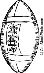 american football ball - sketch, doodle, hand drawn...