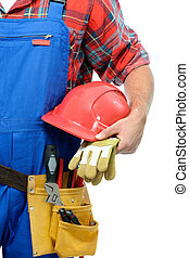 Repairman - Close-up of a repairman isolated on white...
