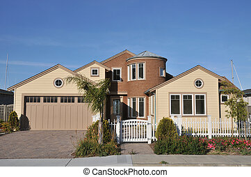 House with white picket fence - House with picket fence and...