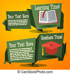 Set of cute back to school banners with text book and...