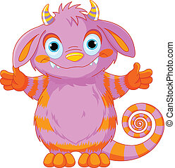 Striped Monster - Illustration of very cute horned monster