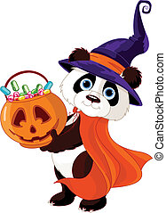 Halloween panda - Illustration of cute costumed panda holds...