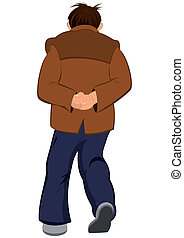 Cartoon man in brown jacket walking away back view -...