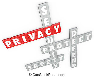 Privacy Security Protection Safety Defense 3D Word Letter...