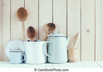 coffee pot, enamel mugs and rustic spoons - Home kitchen...