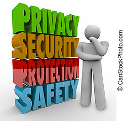 Privacy Security Protection Safety Thinker 3d Words -...