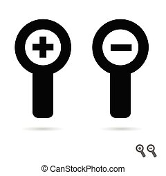 monochromatic increase decrease magnifiers icons illustration