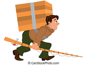 Cartoon man with fishing rod and carrying heavy wooden box -...