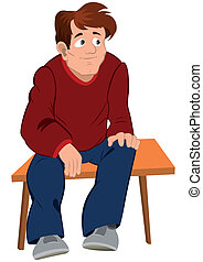 Cartoon man in red sweater and blue pants sitting on the bench