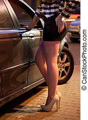 prostituée, penchant, contre, voiture,