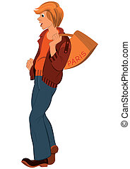 Cartoon young man with orange bag over his shoulder -...