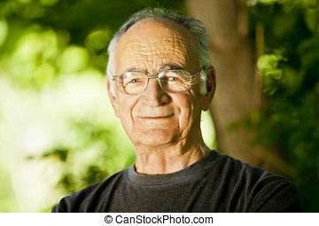 Elderly Man Smiling At The Camera - Tree, Glasses, Healthy...