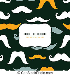 Fun silhouette mustaches frame seamless pattern background -...
