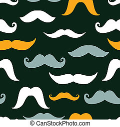 Fun silhouette mustaches seamless pattern background -...