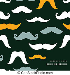 Fun silhouette mustaches frame corner pattern background -...