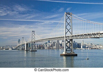 San Francisco and Bay bridge in the morning