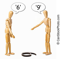 perspective - two mannikins arguing whether a number on the...