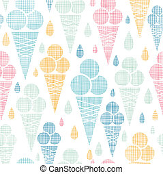 Ice cream cones textile colorful seamless pattern background...