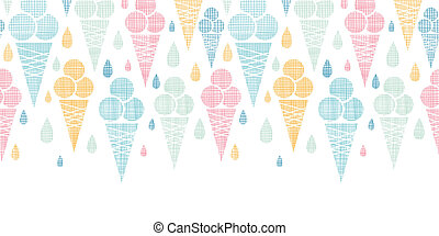 Ice cream cones textile colorful horizontal seamless pattern...