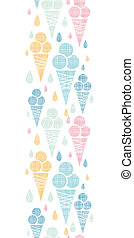 Ice cream cones textile colorful vertical seamless pattern...