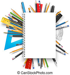 Notepad and pens - Vector back to school theme background:...