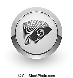 money internet icon - silver chrome glossy web icon