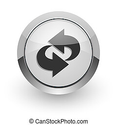 rotation internet icon - silver chrome glossy web icon