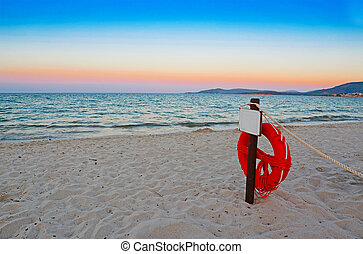 life buoy at dawn in Alghero
