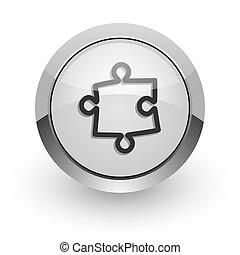 puzzle internet icon - silver chrome glossy web icon