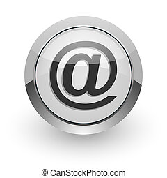 email internet icon - silver chrome glossy web icon