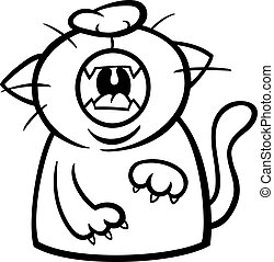 cat yawn or meow coloring page - Black and White Cartoon...