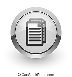document internet icon - silver chrome glossy web icon