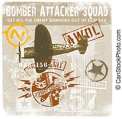 bomber attacker squad - retro military plane vector for...