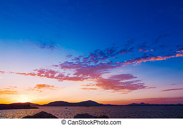 pink sunset in Alghero, Sardinia