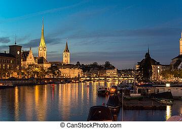 Twilight view of Zurich