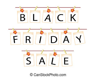 Black Friday Banner of Blank Photos with Maple Leaves -...