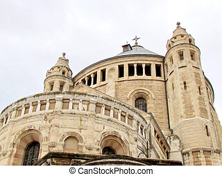 Jerusalem Dormition Abbey in cloudy weather 2012 - The...