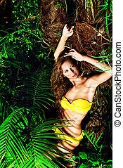 yellow bikini - Beautiful sexual young woman in bikini in...
