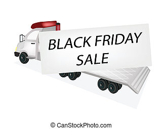 Tractor Trailer Flatbed Loading Black Friday Card - A...